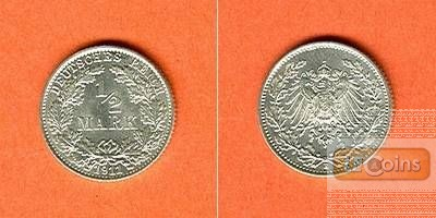 Deutsches Reich 1/2 Mark 1911 E  f.stgl.  selten