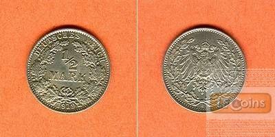 Deutsches Reich 1/2 Mark 1919 E  vz-stgl.