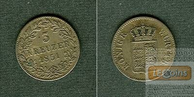 Württemberg 3 Kreuzer 1851  ss