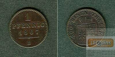 Waldeck Pyrmont 1 Pfennig 1867 B  ss+/vz