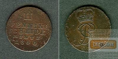 Braunschweig Calenberg Hannover 2 Pfennige 1800  ss