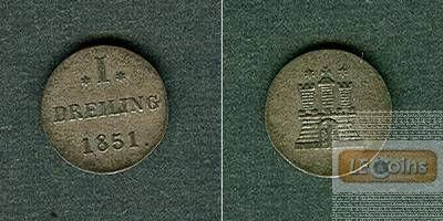 Hamburg Dreiling 1851  ss+/f.vz