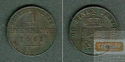 Preussen 4 Pfennige 1861 A  ss