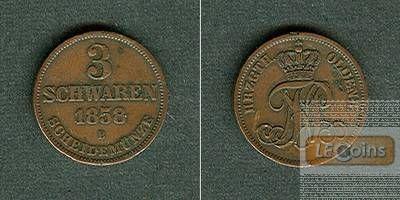 Oldenburg 3 Schwaren 1858 B  ss-vz