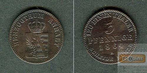 Anhalt 3 Pfennige 1864 A  ss-vz