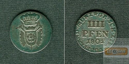 Schaumburg Lippe 4 Pfennige 1802  ss+  selten