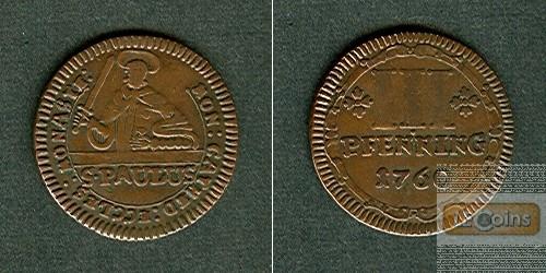Münster Domkapitel 3 Pfennige 1760  ss