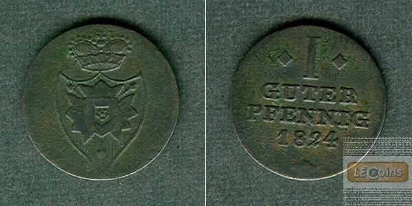 Schaumburg Lippe 1 Pfennig 1824  ss