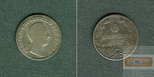 Baden 6 Kreuzer 1832  s/ss  selten