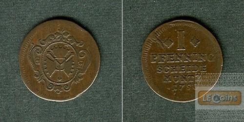 Schaumburg Lippe 1 Pfennig 1750  ss+/ss  selten