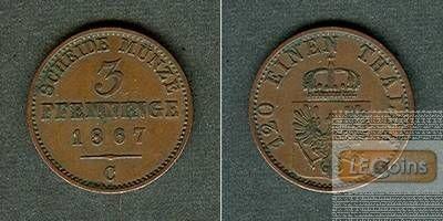 Preussen 3 Pfennige 1867 C  ss-vz