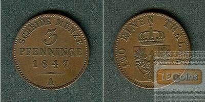 Preussen 3 Pfennige 1847 A  ss+