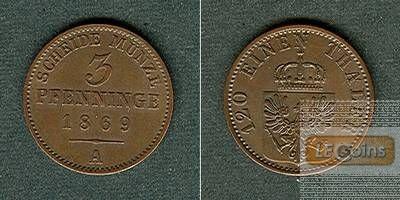 Preussen 3 Pfennige 1869 A  vz-stgl.