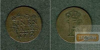 Preussen 1/48 Taler (1/2 Groschen) 1772 A  ss
