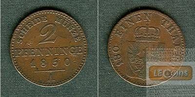 Preussen 2 Pfennige 1850 A  f.ss  selten!