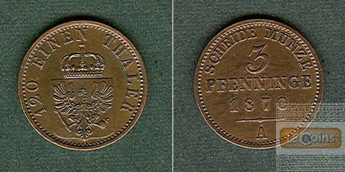 Preussen 3 Pfenninge 1870 A  vz-stgl.