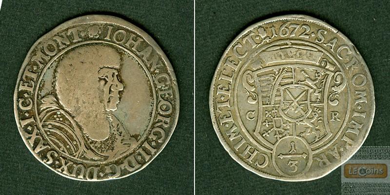 Sachsen 1/3 Taler 1672 CR  ss-/ss