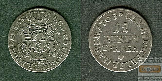 Sachsen 1/12 Taler (Doppel-Groschen) 1763 IFoF  ss+