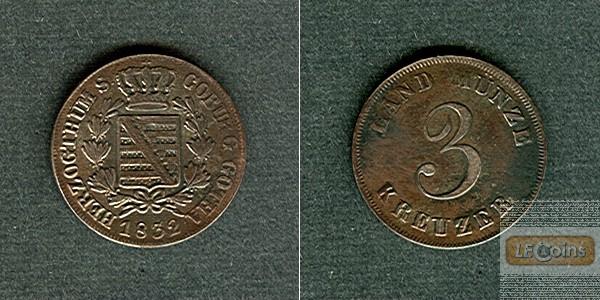 Sachsen Coburg und Gotha 3 Kreuzer 1832  ss-vz  selten