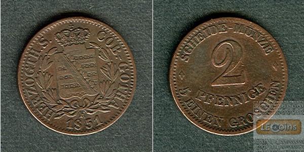 Sachsen Coburg und Gotha 2 Pfennige 1851 F  ss+