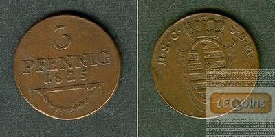 Sachsen Coburg Saalfeld 3 Pfennig 1825  ss