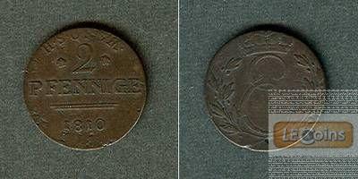 Sachsen Coburg Saalfeld 2 Pfennig 1810 ss  selten