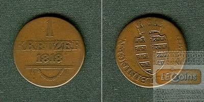 Sachsen Meiningen 1 Kreuzer 1818 ss-  selten