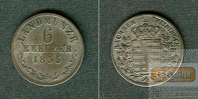Sachsen Meiningen 6 Kreuzer 1835 L  ss  selten!