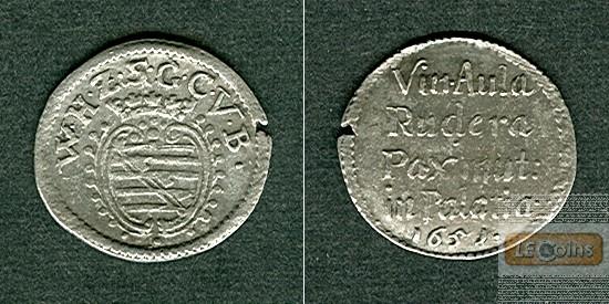 Sachsen Weimar 3 Pfennige / Spruchdreier 1651  ss+