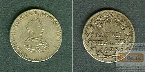 Hessen Kassel 1/6 Taler 1828  ss-/ss