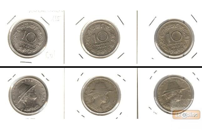 Lot:  ÖSTERREICH  3x  10 Groschen  [1925-1929]