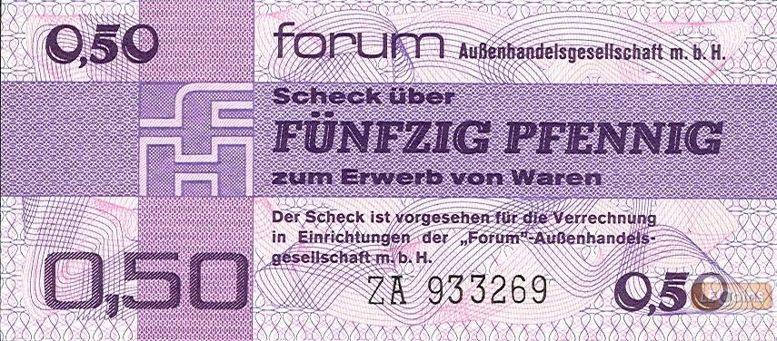 DDR: Forum-Scheck 0,50M / 50 Pfennig 1979  Ro.367b  Ersatznote  I