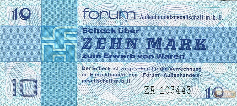 DDR: Forum-Scheck 10 MARK 1979  Ro.370b  Ersatznote  I