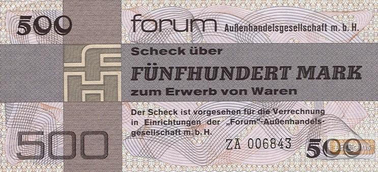 DDR: Forum-Scheck 500 MARK 1979  Ro.373b  Ersatznote  I-
