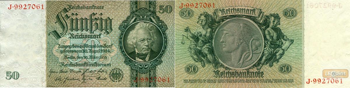 50 REICHSMARK 1933  Ro.175a  Friedensdruck  I  selten!