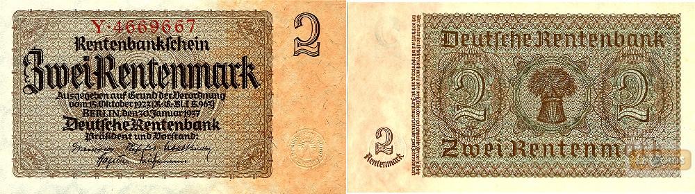 2 RENTENMARK 1937  Ro.167a  I  selten