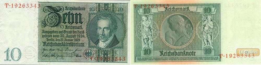 10 REICHSMARK 1929  Ro.173a  Friedensdruck  I  selten
