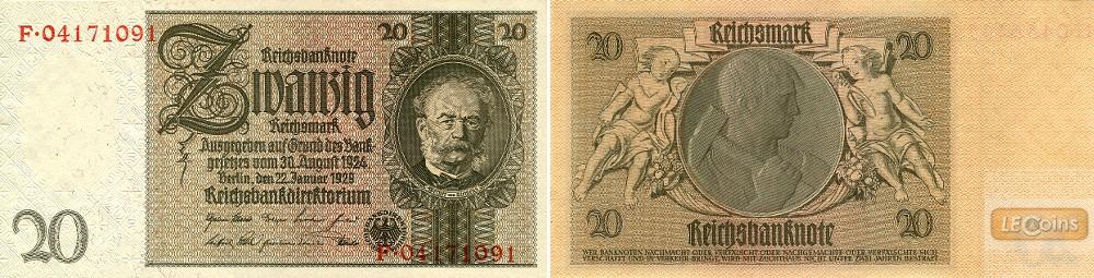 20 REICHSMARK 1929  Ro.174c  Kriegsdruck  I
