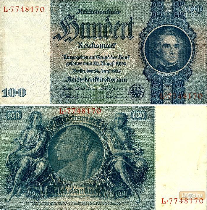 100 REICHSMARK 1935  Ro.176b  Zwischenform  II