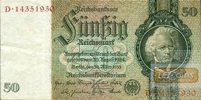 50 REICHSMARK 1933  Ro.175b  Friedensdruck  II