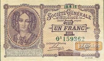 Deutsche Besatzung BELGIEN 1 Franc 1915-1918  Ro.433  I