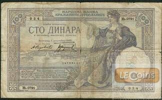 JUGOSLAWIEN 100 Dinar 1929  III-IV  Var. selten!