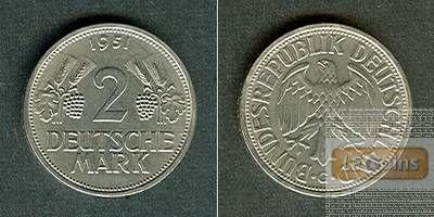 Deutschland BRD 2 DM 1951 G  vz+/f.stgl.  selten!