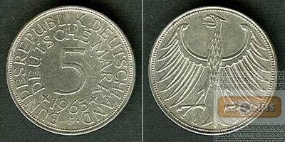 Deutschland BRD 5 DM 1963 G  ss+/ss-vz