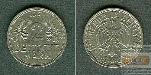 Deutschland BRD 2 DM 1951 G  vz  selten!