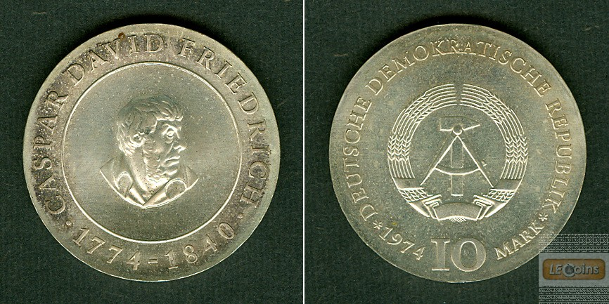 Deutschland DDR 10 M 1974  SILBER  C. D. Friedrich  ST  selten!