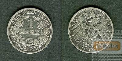 Deutsches Reich 1 Mark 1892 G ss+/ss  selten!