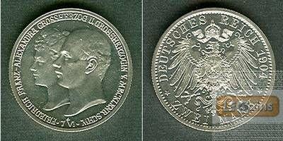 Mecklenburg Schwerin 2 Mark 1904 A  f.stgl. aus PP!