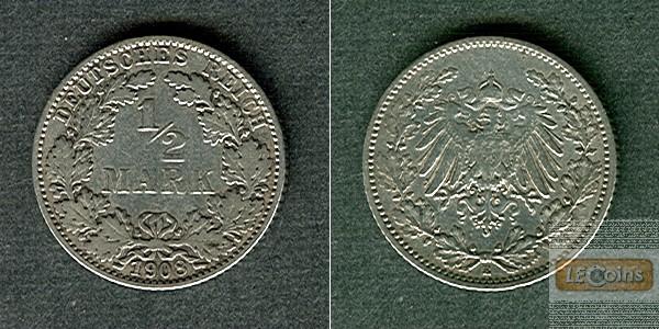 Deutsches Reich 1/2 Mark 1908 E  ss
