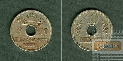 Deutsch Ostafrika 10 Heller 1909 J  ss-vz